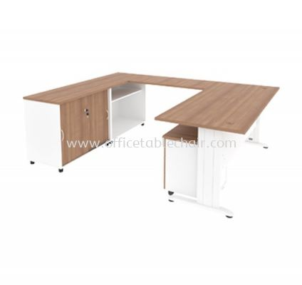 L-SHAPE TABLE METAL J-LEG C/W STEEL MODESTY WITH MOBILE PEDESTAL 3D & SIDE CABINET MJ 88 (L)