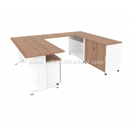 L-SHAPE TABLE METAL J-LEG C/W STEEL MODESTY WITH MOBILE PEDESTAL 3D & SIDE CABINET MJ 88 (R)