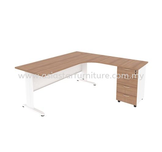MJMD-8756 (R) L-SHAPE TABLE WITH FIXED PEDESTAL 4D
