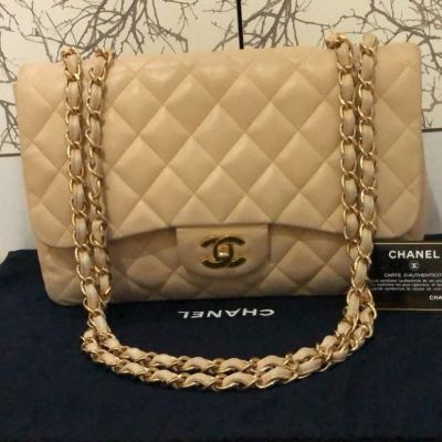 Chanel Jumbo Beige Lambskin with GHW