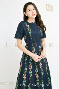6327 EMBROIDERED FLORAL MAXI DRESS 【Online Exclusive Promo 41% OFF】