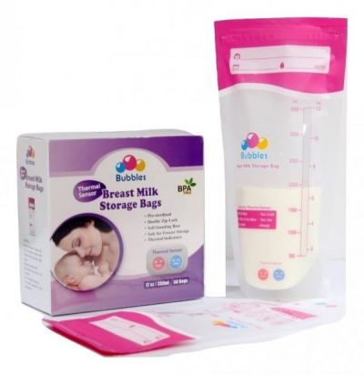 BUBBLES THERMAL SENSOR DOUBLE ZIPLOCK BREAST MILK STORAGE BAG 12OZ (50PCS)