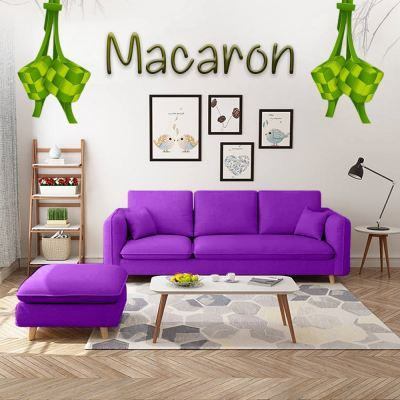 MACARON Japanese Style Sofa with Stool (Purple)