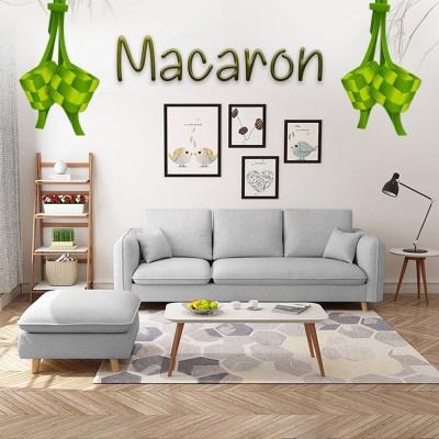 MACARON Japanese Style Sofa with Stool (Grey)