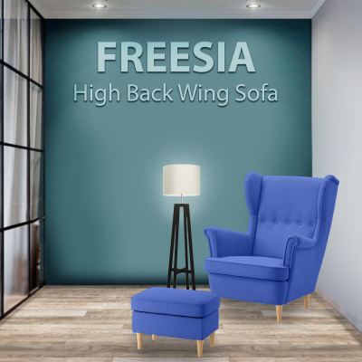 FREESIA Canvas High Back Wing Chair with Stool (Blue)
