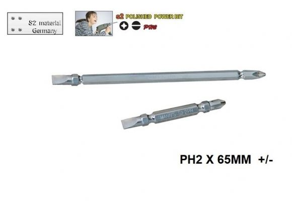 MN PH2 X 65MM  +/-- POLISHED  POWER BIT-00711N