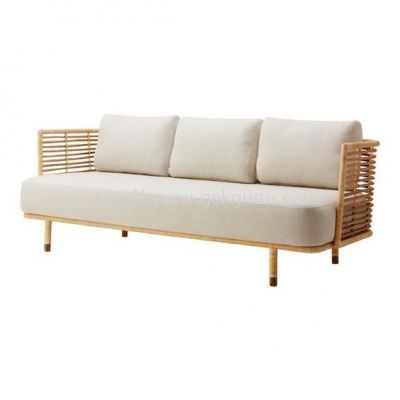 R3SC 006 - RATTAN 3 SEATER CHAIR WITH METAL FRAME