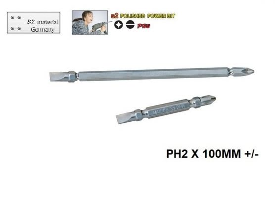 MN    PH2 X 100MM +/-- POLISHED  POWER BIT -00711P