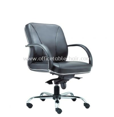 SUPREME DIRECTOR LOW BACK LEATHER CHAIR WITH CHROME TRIMMING LINE ASE 2213