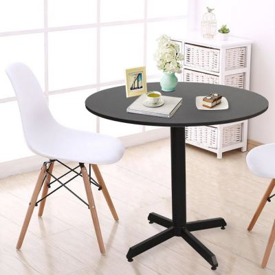Runda Steel Frame Quad-Leg Simple Round Wooden Top Dining Table