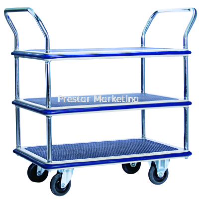 MYSTAR - METAL PLATFORM TRIPLE DECKER DOUBLE HANDLE TROLLEY