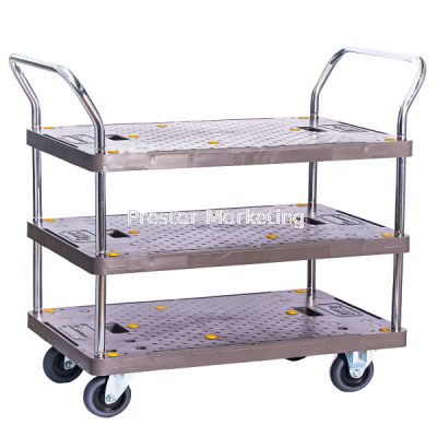 MYSTAR - PVC PLATFORM TRIPLE DECKER DOUBLE HANDLE TROLLEY