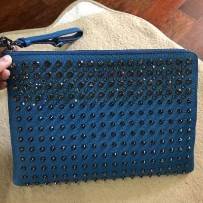 Brand New MCM Stark Crystal Studded Full Leather Clutch in Blue