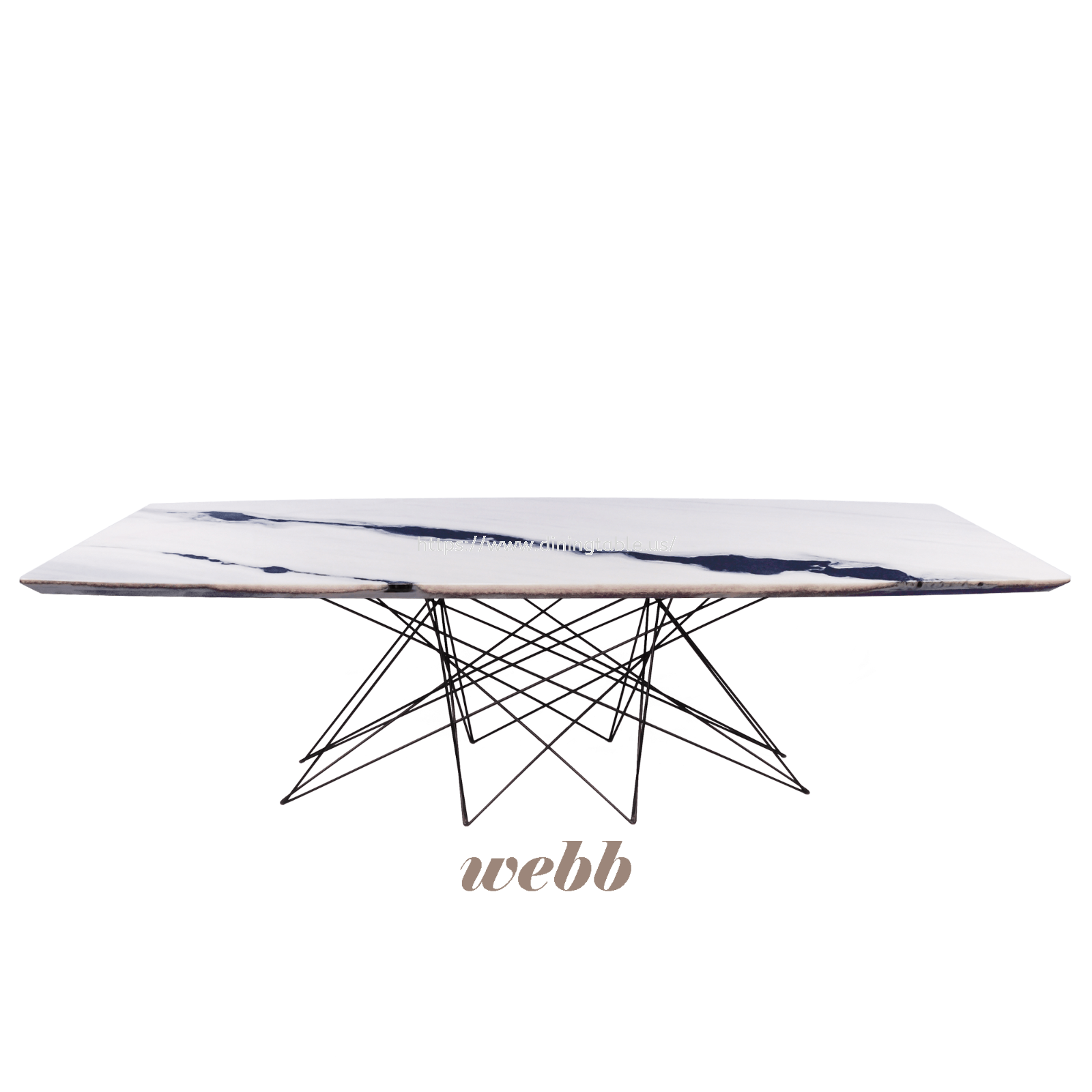 Rectangular Marble Dining Table (Panda White2)