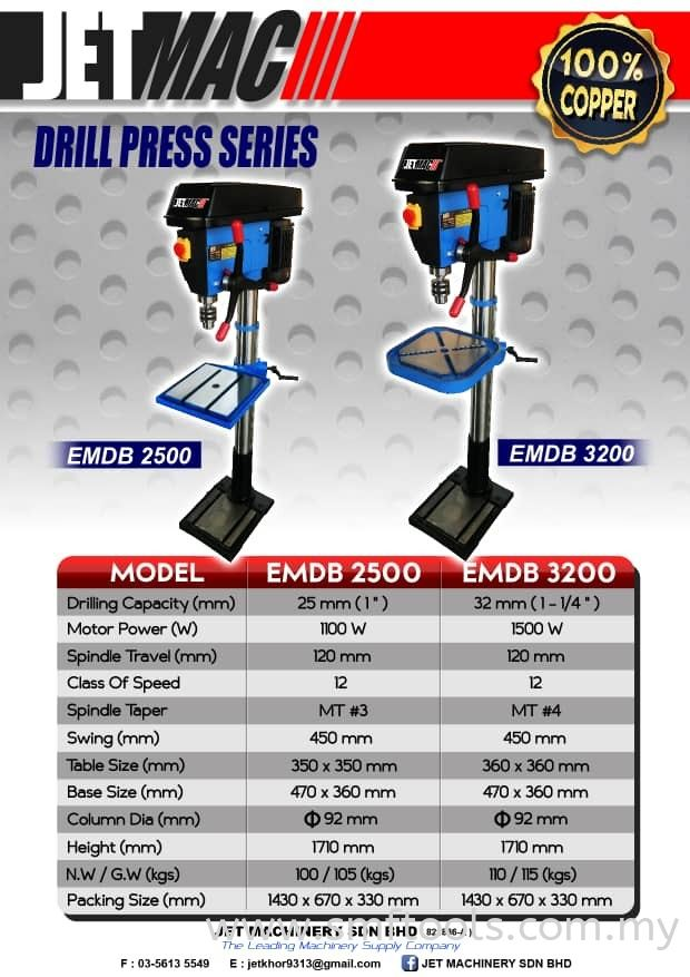 JETMAC DRILL PRESS EMDB2500 EMDB3200 Others