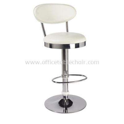 HIGH BARSTOOL CHAIR WITH BACKREST C/W ROUND CHROME METAL BASE ST30-F