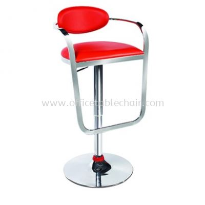 HIGH BARSTOOL CHAIR WITH BACKREST C/W ROUND CHROME METAL BASE ST31-F
