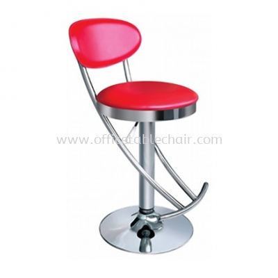 HIGH BARSTOOL CHAIR WITH BACKREST C/W ROUND CHROME METAL BASE ST29-F