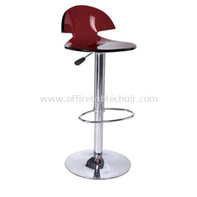 HIGH BARSTOOL CHAIR WITH BACKREST C/W ROUND CHROME METAL BASE ST28-F