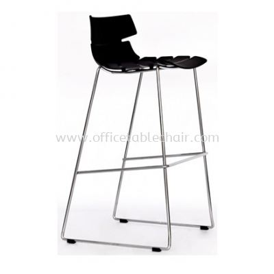 HIGH BARSTOOL CHAIR WITH BACKREST C/W CHROME METAL BASE ST33-F