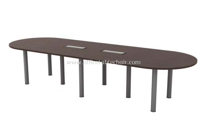QAMAR OVAL SHAPE CONFERENCE MEETING OFFICE TABLE AQIC 36 (C/W FLIPPER COVER )