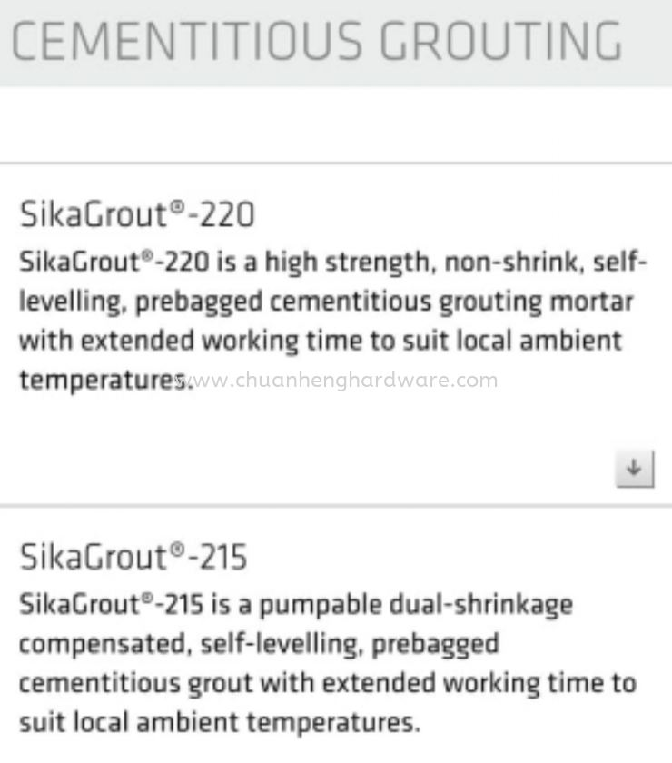 cementitious grouting sika