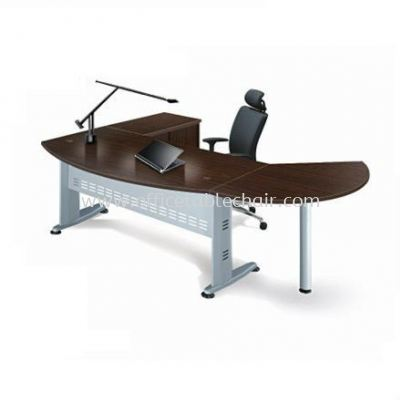 EXECUTIVE TABLE D-SHAPE METAL J-LEG C/W STEEL MODESTY PANEL WITH SIDE CABINET & SIDE DICUSSION TABLE QMB 180A (FRONT)