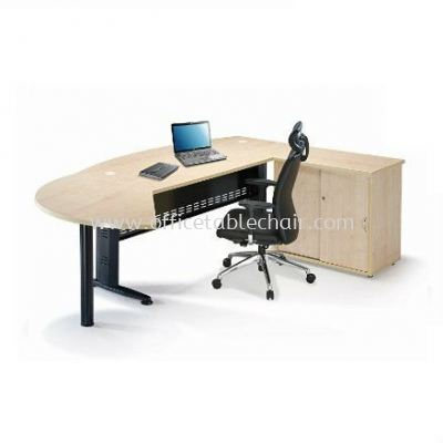 EXECUTIVE TABLE D-SHAPE METAL J-LEG /W STEEL MODESTY PANEL WITH SIDE CABINET & SIDE DICUSSION TABLE QMB 180A (INNER)