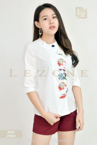 6263 PLUS SIZE EMBROIDERED FLORAL BLOUSE