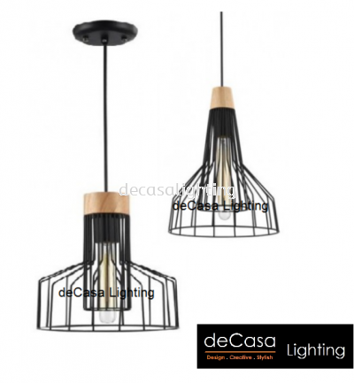 INDUSTRIAL PENDANT LIGHT BLACK FURNISHING WOOD NSB-ZF4928/1 ZF4922/1