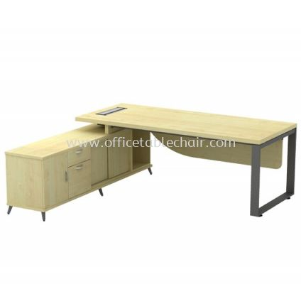 DIRECTOR TABLE METAL O-LEG C/W WOODEN MODESTY PANEL & SIDE CABINET Q-SLWE 2022 (TOP 41THK)