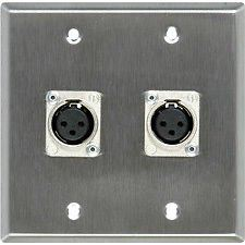 Voltech YLH005 Two Female XLR Wall Panel with Plate