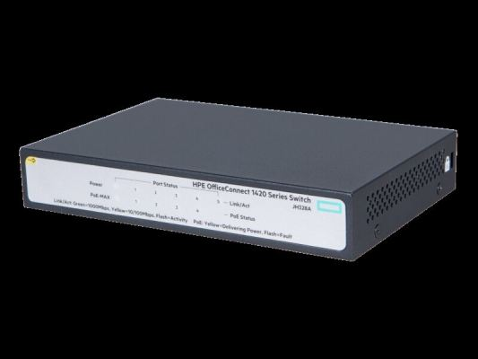 HPE 1420 5G PoE+(32W) Switch (4-ports PoE+)JH328A