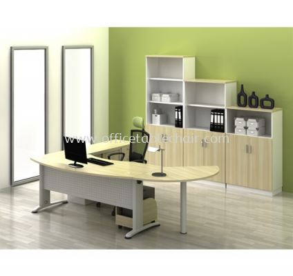 EXECUTIVE OFFICE TABLE D-SHAPE METAL J-LEG C/W STEEL MODESTY PANEL WITH CABINET & SIDE DISCUSSION TABLE ABMB 55 FULL SET
