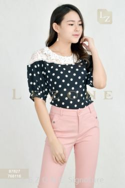 87827 LACE POLKA DOT BLOUSE【BUY 2 FREE 3】