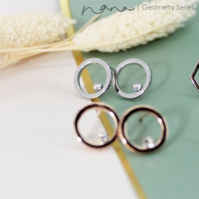 Geometry - E108 Circle w Diamond (Silver / Rose Gold)