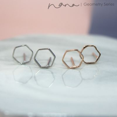Geometry - E104 Hexagon Abstract Big (Silver / Rose Gold)