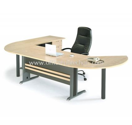 RECTANGULAR WRITING TABLE METAL J-LEG C/W SIDE TABLE & SIDE DISCUSSION TABLE TT 158 MANAGER SET A (FRONT)