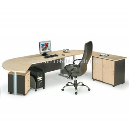 TITUS RECTANGULAR WRITING OFFICE TABLE METAL J-LEG C/W SIDE OFFICE CABINET WITH SIDE DISCUSSION TABLE & MOBILE PEDESTAL 3D ATT 158 MANAGER TABLE SET C