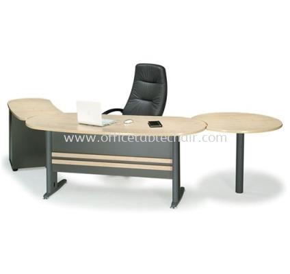 EXECUTIVE TABLE OVAL SHAPE METAL J-LEG C/W SIDE SIDE TABLE & SIDE DISCUSSION TABLE MANAGER TABLE SET TMB 33 (FRONT)