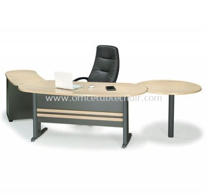 TITUS EXECUTIVE OFFICE TABLE OVAL SHAPE METAL J-LEG C/W FIXED DRAWER & SIDE DISCUSSION TABLE SET ATMB 33 (FRONT)