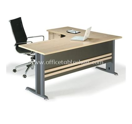 L-SHAPE TABLE METAL J-LEG C/W FIXED PEDESTAL TL1815D (FRONT)