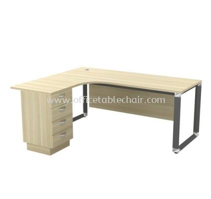 L-SHAPE TABLE METAL PYRAMID LEG C/W WOODEN MODESTY PANEL & FIXED PEDESTAL 4D OWL 552-4D