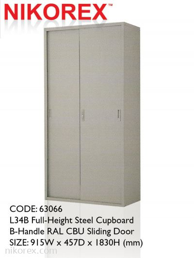 63066 - L34B Full-Height Steel Cupboard  B-Handle RAL CBU Sliding Door