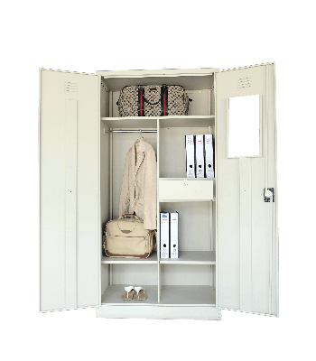 Full Height Wardrobe with Steel Swinging Door S198