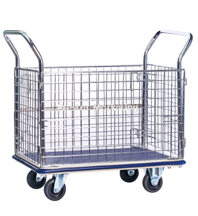 METAL PLATFORM FULL SIDE NETTING TROLLEY