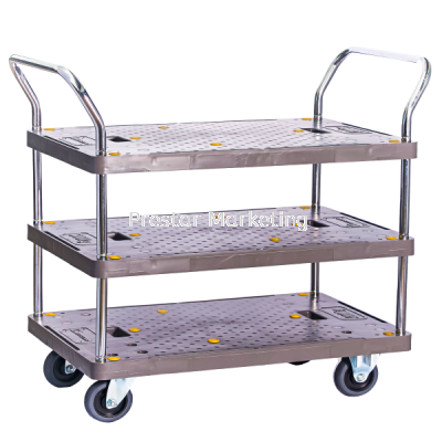 PVC PLATFORM TRIPLE DECKER DOUBLE HANDLE TROLLEY