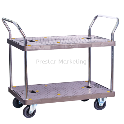 PVC PLATFORM DOUBLE DECKER DOUBLE HANDLE TROLLEY