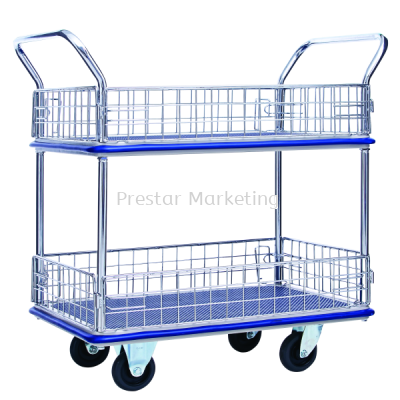 METAL PLATFORM DOUBLE DECKER WITH SIDE NET TROLLEY