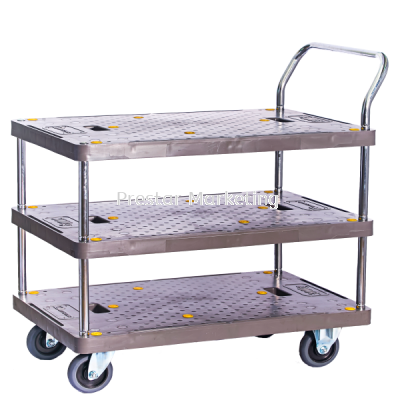 PVC PLATFORM TRIPLE DECKER SINGLE HANDLE TROLLEY